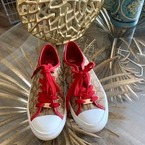 NWT Coach Tennis Shoes Tan w/Red Leather Trim 6.5